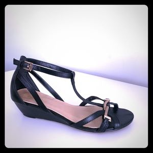 Black and gold ankle strap 1 1/2 inch wedge heels